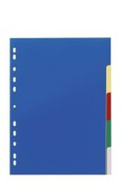 Blanko-Register aus Kunststoff, farbig A4 5 Blatt, Tabe 5-farbig