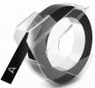 Prägeband - 9 mm x 3 m, glänzend schwarz