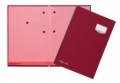 Unterschriftsmappen DE LUXE Leinen-Einband, mit 20 Fächern, rosa Löschkarton rot