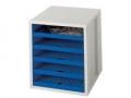 Schubladenboxen Schrank-Set lichtgrau/blau