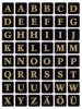 4130 Buchstaben-Etiketten - A-Z, 13x13 mm, schwarz gold geprägt