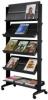 Mobile Prospektständer schwarz 85,5 x 38,5 x 167,5 cm