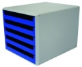 Schubladenboxen mit 5 offenen Schubladen, Größe: 284 x 359 x 260 mm (BxTxH) hell